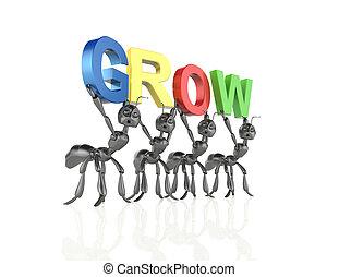 Grow 3d word concept