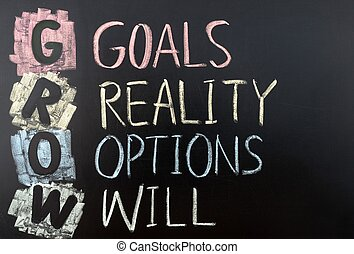 GROW acronym for goals, reality, options and will