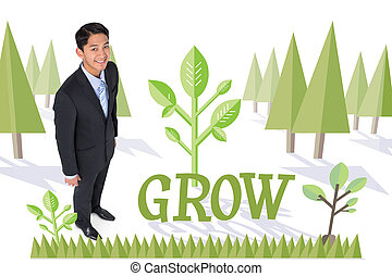 Grow against forest with trees - The word grow and smiling...
