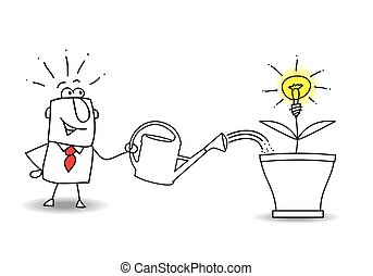 Grow an idea - this businessman waters the tree and an idea...