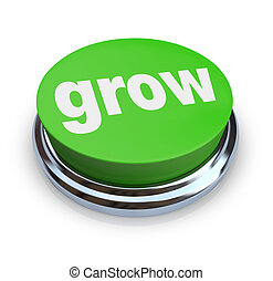 Grow Button - Green - A round, green button on a white...