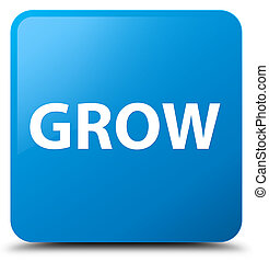 Grow cyan blue square button