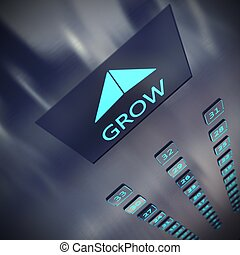 Grow elevator - Image of an elevator with written grow