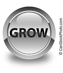 Grow glossy white round button