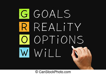 GROW Goals Reality Options Will Concept