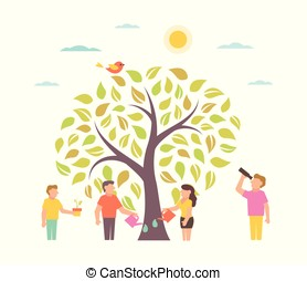 Grow Illustration with tree People growing plant
