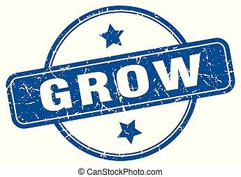 grow round grunge isolated stamp