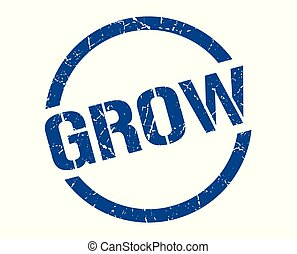 grow stamp - grow blue round stamp