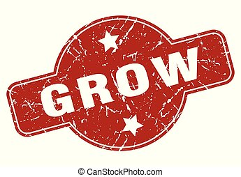 grow vintage stamp. grow sign