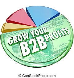 Grow Your B2B Profits words on a 3d pie chart showing increased profits, revenues and earnings in sales to other companies