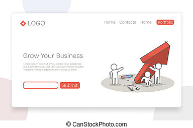 Grow your business. Teamwork and success concept. Landing page concept.