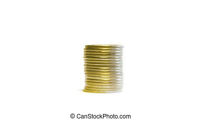 stop motion video, growing stacks of coins isolated on white, then decrease