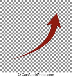 Growing arrow sign. Maroon icon on transparent background.