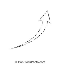 Growing arrow sign. Vector. Black dotted icon on white background. Isolated.