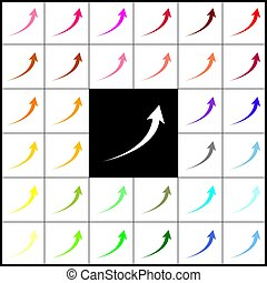 Growing arrow sign. Vector. Felt-pen 33 colorful icons at white and black backgrounds. Colorfull.