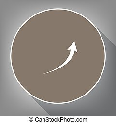 Growing arrow sign. Vector. White icon on brown circle with white contour and long shadow at gray background. Like top view on postament.