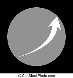 Growing arrow sign. White icon in gray circle at black backgroun