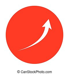 Growing arrow sign. White icon on red circle.