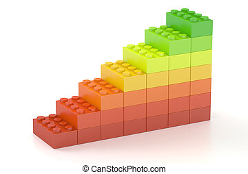Growing bar chart from color building toy blocks, 3D rendering