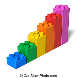 Growing bar chart from color toy blocks isolated on white background