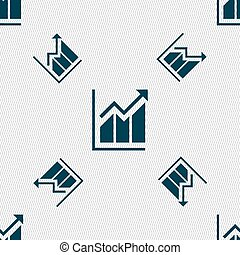 Growing bar chart icon sign. Seamless pattern with geometric texture. Vector
