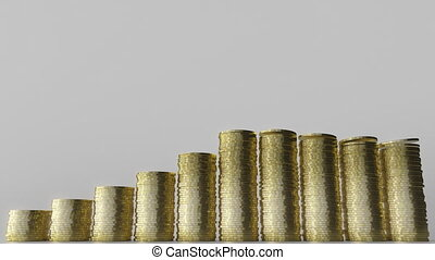 Growing bar chart made of coin stacks. Business success or...