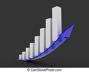 Growing bar chart with arrow . 3d rendered illustration