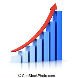 Growing bar chart with arrow - Business success and...