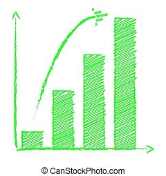 Growing bar chart with arrow