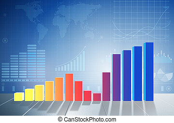 Growing bar charts in economic recovery concept - 3d rendering