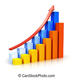 Growing bar charts with arrow - Creative abstract business ...