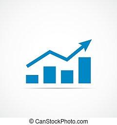 Growing bar graph icon. - Growing bar graph icon with rising...