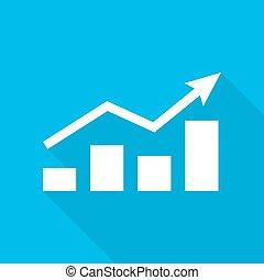 Growing bar graph icon. Vector illustration. - Growing bar...