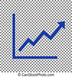 Growing bars graphic sign. Blue icon on transparent...