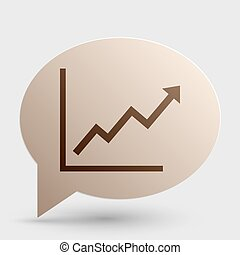 Growing bars graphic sign. Brown gradient icon on bubble...