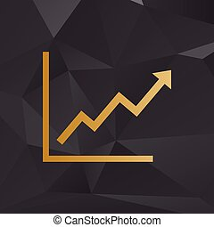 Growing bars graphic sign. Golden style on background with polygons.