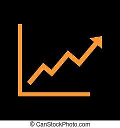 Growing bars graphic sign. Orange icon on black background....