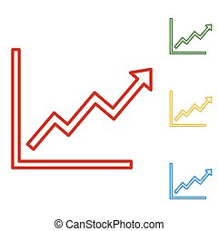 Growing bars graphic sign. Set of line icons. Red, green,...