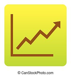Growing bars graphic sign. Vector. Brown icon at...
