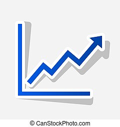 Growing bars graphic sign. Vector. New year bluish icon with...