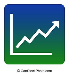 Growing bars graphic sign. Vector. White icon at green-blue...