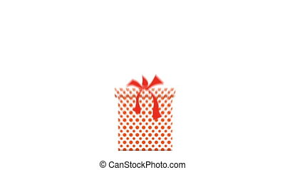 Growing boxes with gifts, colorful package with bows....