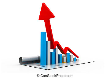 Growing business chart and graph