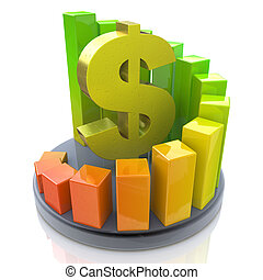 Growing business chart with dollar sign