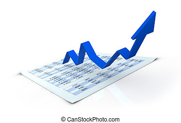 growing business concept - one financial chart growing with...
