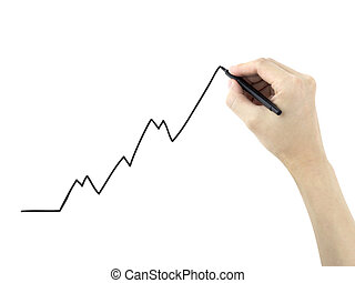 growing business graph drawn by man's hand