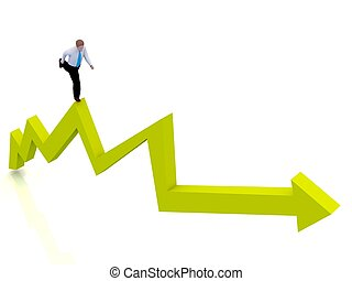 Growing business graph with a man