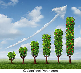 Business growth success as a financial graph shaped as growing trees with fruit and a cloud in the shape of an upward arrow as a concept of investment wealth bearing fruit.