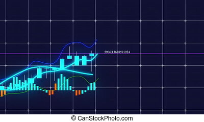 Growing candlestick chart of stock market investment trading. Computer generated business background, 3d rendering