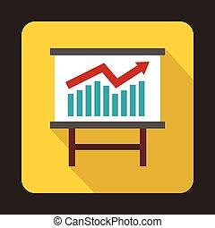 Growing chart presentation icon, flat style